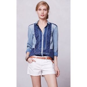 Anthropologie HH Patchwork Chambray Button Down